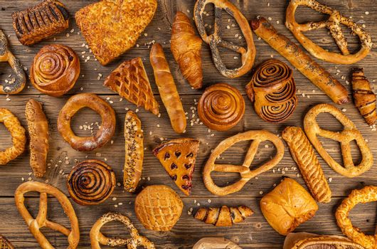Flat lay of various bakery product concept