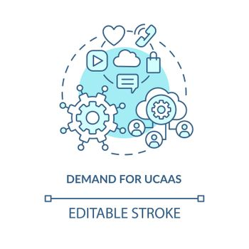 Demand for UCaaS blue concept icon