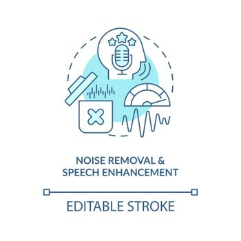 Noise removal blue concept icon