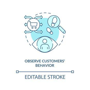 Observe customers behavior blue concept icon