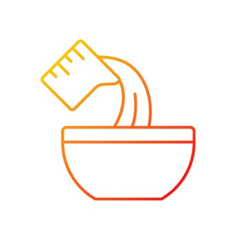 Pour cooking ingredient gradient linear vector icon