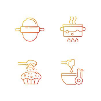 Cookery instructions gradient linear vector icons set