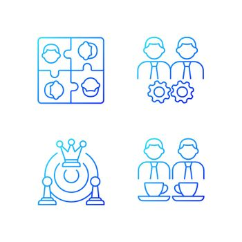 Office members interaction gradient linear vector icons set