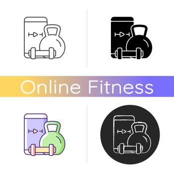 Online weightlifting exercises training icon.