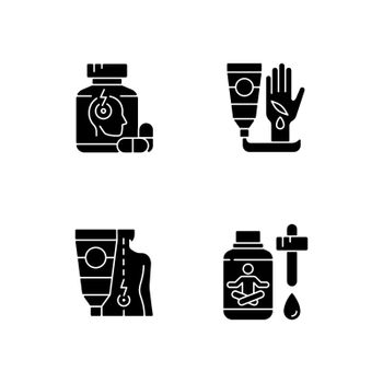 Survival first aid kit black glyph icons set on white space