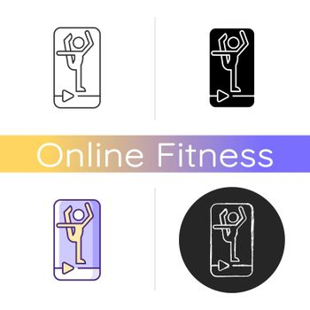 Online fitness stretching icon.