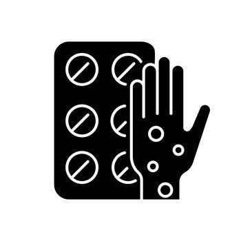 Pills for allergy black glyph icon