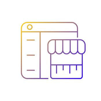 Online marketplace gradient linear vector icon