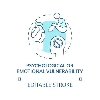 Psychological or emotional vulnerability blue concept icon