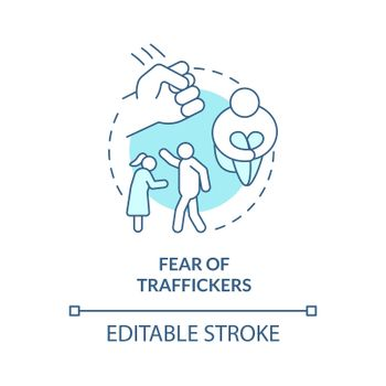 Fear of traffickers blue concept icon