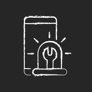 Urgent phone repairs chalk white icon on dark background