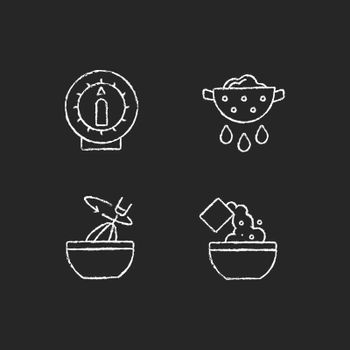 Food preparation chalk white icons set on dark background