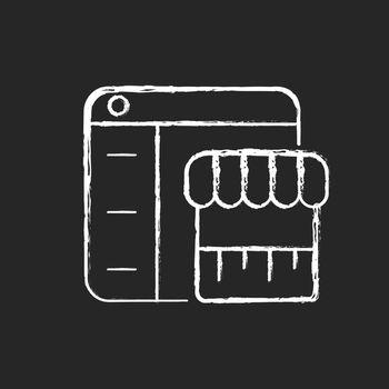 Online marketplace chalk white icon on dark background