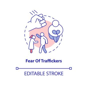 Fear of traffickers concept icon