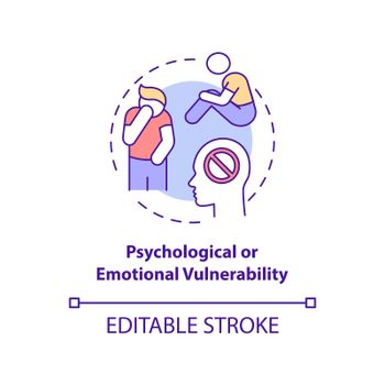 Psychological or emotional vulnerability concept icon