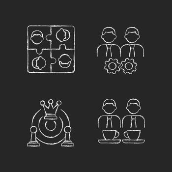 Office members interaction chalk white icons set on dark background