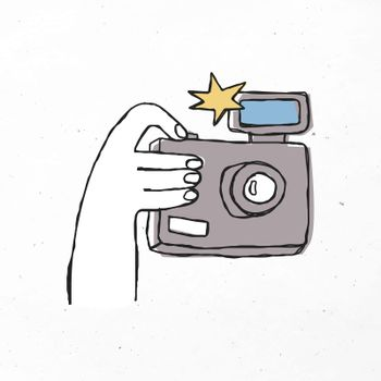 Colorful hand drawn camera vector clipart