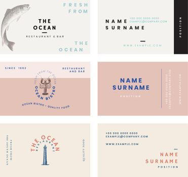 Aesthetic business card template vector for restaurant set, remixed from public domain artworks