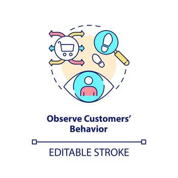 Observe customers behavior concept icon