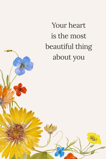 Floral quote template vector illustration, remixed from public domain artworks