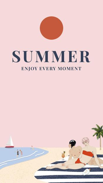 Summer template vector with people sunbathing, remixed from artworks by George Barbier