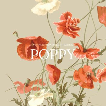 Vintage floral template vector with poppy background, remixed from public domain artworks