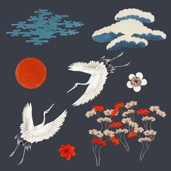 Vintage Japanese kamon ornamental vector set, remixed from public domain artworks