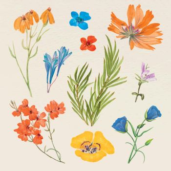 Vintage flower vector illustration set, remixed from public domain artworks
