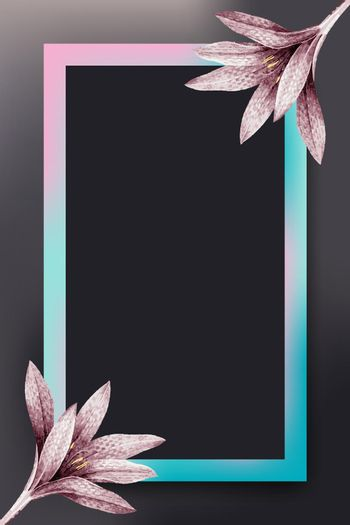 Pink flower with pink and blue frame vector