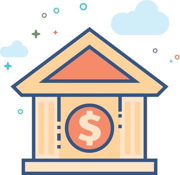 Flat Color Icon - Bank building