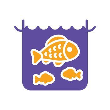 Fish in a pond or aquarium vector glyph icon