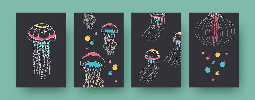Set of contemporary art posters with jellyfish