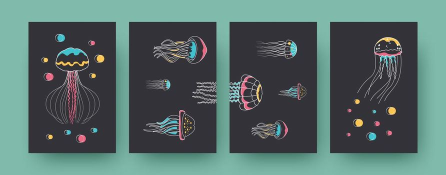 Set of contemporary posters with different medusas
