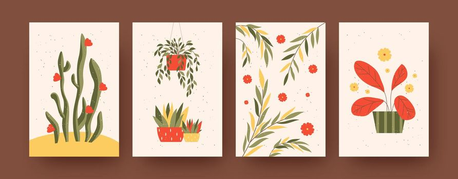 Set of contemporary art posters with garden theme