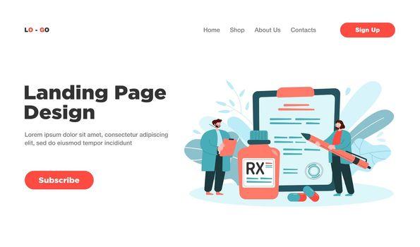 RX prescription flat vector illustration