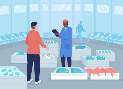 Wholesale seafood market flat color vector illustration
