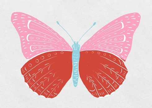 Colorful butterfly vector vintage drawing clipart