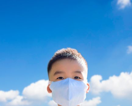 Kids wearing the mask for protect them self from covid-19. cloud background.