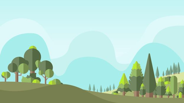 Green botany flat forest vector