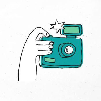Green hand drawn camera vector clipart