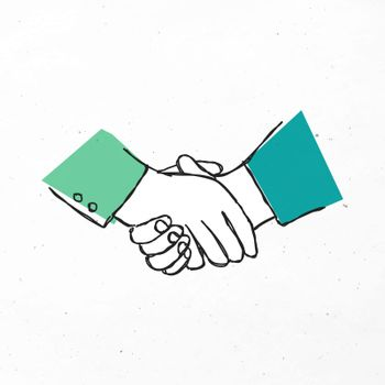 Green hand drawn partnership vector clipart