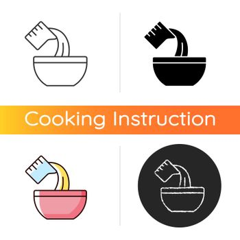 Pour cooking ingredient icon