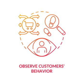 Observe customers behavior red concept icon