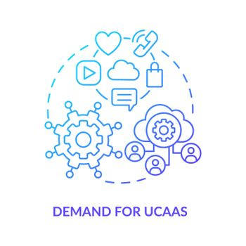 Demand for UCaaS blue gradient concept icon