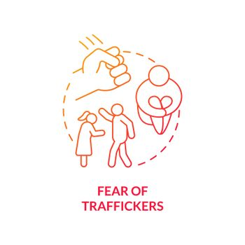 Fear of traffickers red concept icon