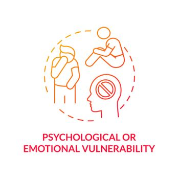 Psychological or emotional vulnerability red concept icon