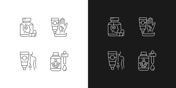 Survival first aid kit linear icons set for dark and light mode