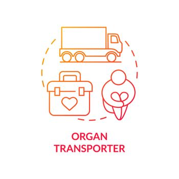 Organ transporter red concept icon