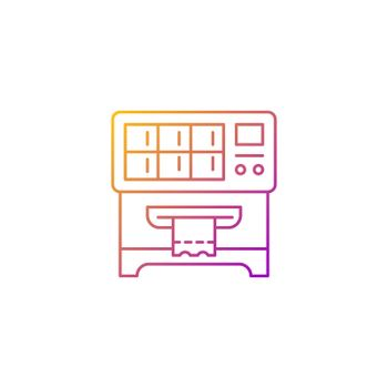 Lottery ticket vending machine gradient linear vector icon
