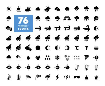 Vector weather forecast icon set. Meteorology sign